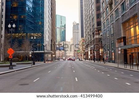 """CHICAGO, IL - CIRCA APRIL, 2016: streets of Chicago at daytime. Chicago, colloquially known as the """"Windy City"""", is the third most populous city in the USA, following New York and Los Angeles - stock photo"""