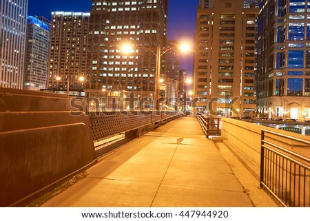 CHICAGO, IL - CIRCA MARCH, 2016: Chicago at night time. Chicago is the third most populous city in the United States.