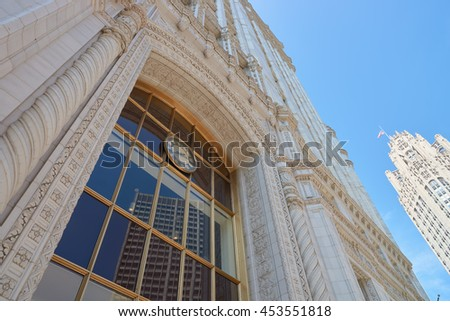 CHICAGO, IL - CIRCA MARCH, 2016: Wrigley Building in the daytime. The Wrigley Building is a skyscraper located directly across Michigan Avenue from the Tribune Tower on the Magnificent Mile. - stock photo