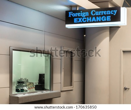 CHICAGO, IL -DEC 7, 2013: Foreign Currency Exchange office at Chicago O'Hare international airport on December 7, 2013. - stock photo