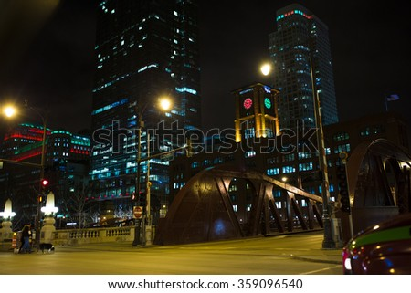 CHICAGO, IL: December 2015 - Chicago downtown street at night.