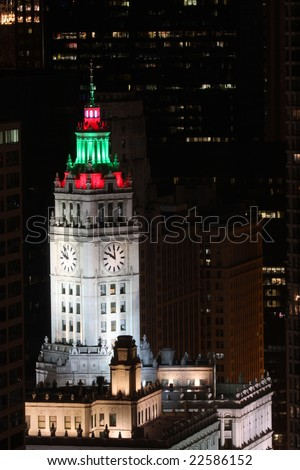 Chicago, IL - December 28:  The Wrigley Building in downtown Chicago on December 28, 2008 displays festive colored holiday lights on the clock tower in celebration of the holiday season.