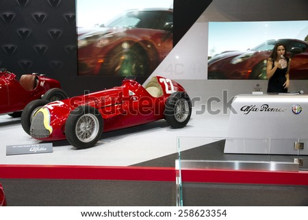 CHICAGO, IL - FEBRUARY 15: Alfa Romeo booth at the annual International auto-show, February 15, 2015 in Chicago, IL - stock photo