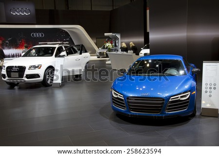 CHICAGO, IL - FEBRUARY 15: AUDI R8 at the annual International auto-show, February 15, 2015 in Chicago, IL - stock photo