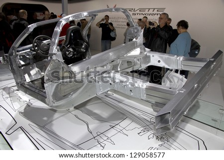 CHICAGO, IL - FEBRUARY 16: Chassis of Chevy Corvette 2014 at the annual International auto-show, February 16, 2013 in Chicago, IL