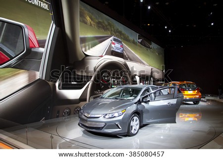CHICAGO, IL - FEBRUARY 15: Chevrolet showroom at the annual International auto-show, February 15, 2016 in Chicago, IL