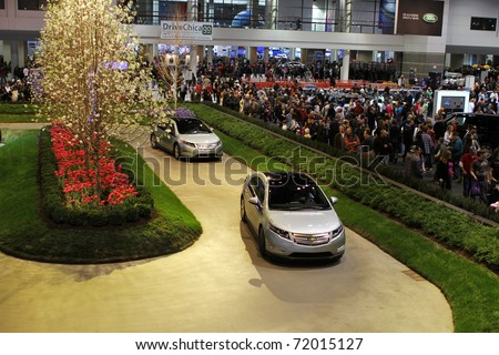 CHICAGO, IL - FEBRUARY 20: Chevrolet Volt green zone exhibition at the International auto-show on February 20, 2011 in Chicago, IL - stock photo