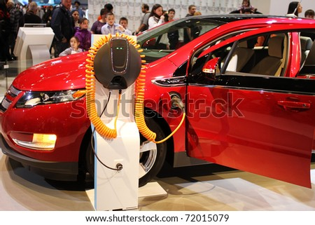 CHICAGO, IL - FEBRUARY 20: Chevrolet Volt model 2011 at the International auto-show on February 20, 2011 in Chicago, IL - stock photo