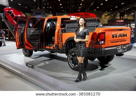 CHICAGO, IL - FEBRUARY 15: Dodge RAM pickup truck at the annual International auto-show, February 15, 2016 in Chicago, IL