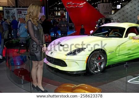 CHICAGO, IL - FEBRUARY 15: DODGE VIPER at the annual International auto-show, February 15, 2015 in Chicago, IL - stock photo