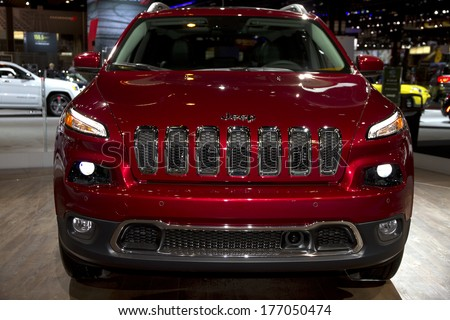 CHICAGO, IL - FEBRUARY 8: Jeep Cherokee at the annual International auto-show, February 8, 2014 in Chicago, IL - stock photo
