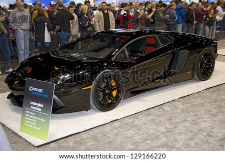 CHICAGO, IL - FEBRUARY 16: Lamborghini Aventador at the annual International auto-show, February 16, 2013 in Chicago, IL