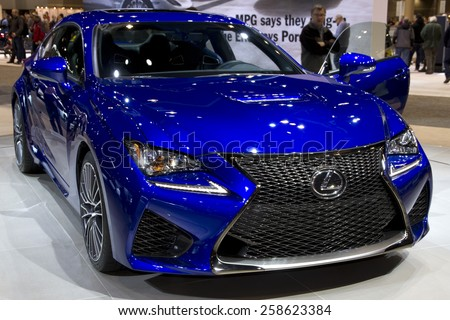 CHICAGO, IL - FEBRUARY 15: LEXUS GS-F at the annual International auto-show, February 15, 2015 in Chicago, IL - stock photo