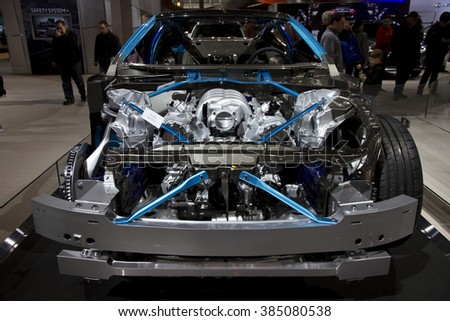 CHICAGO, IL - FEBRUARY 15: Lexus LC500 chassis at the annual International auto-show, February 15, 2016 in Chicago, IL
