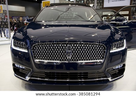 CHICAGO, IL - FEBRUARY 15: Lincoln Continental 2017 at the annual International auto-show, February 15, 2016 in Chicago, IL