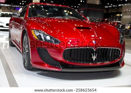 CHICAGO, IL - FEBRUARY 15: Maserati The GranTurismo MC Stradale Centennial Edition at the annual International auto-show, February 15, 2015 in Chicago, IL - stock photo