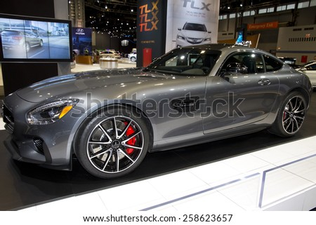 CHICAGO, IL - FEBRUARY 15: 2016 MERCEDES-AMG GT at the annual International auto-show, February 15, 2015 in Chicago, IL