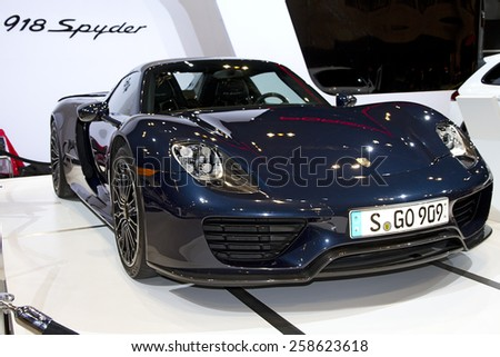 CHICAGO, IL - FEBRUARY 15: Porsche 918 Spyder at the annual International auto-show, February 15, 2015 in Chicago, IL - stock photo