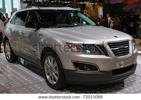 CHICAGO, IL - FEBRUARY 20: Saab 94X model 2011 at the International auto-show on February 20, 2011 in Chicago, IL - stock photo