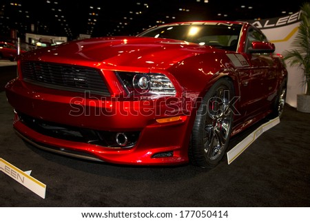 CHICAGO, IL - FEBRUARY 8: Saleen Mustang at the annual International auto-show, February 8, 2014 in Chicago, IL - stock photo