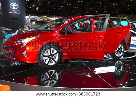CHICAGO, IL - FEBRUARY 15: Toyota Hybrid car at the annual International auto-show, February 15, 2016 in Chicago, IL