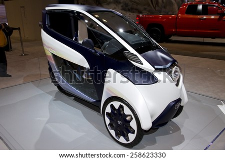 CHICAGO, IL - FEBRUARY 15: TOYOTA iRoad at the annual International auto-show, February 15, 2015 in Chicago, IL - stock photo
