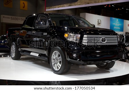 CHICAGO, IL - FEBRUARY 8: Toyota Tundra pickup at the annual International auto-show, February 8, 2014 in Chicago, IL - stock photo