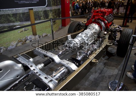 CHICAGO, IL - FEBRUARY 15: Truck chassis assembly at the annual International auto-show, February 15, 2016 in Chicago, IL