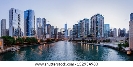 CHICAGO, IL - JULY 7: Trump International Tower and other buildings in Chicago, IL, shown in this river view on July 7, 2012, is the twelfth largest building in the world. - stock photo