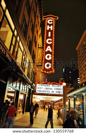 CHICAGO, IL-JUNE 25:Famous Chicago Theater Sign Night on June 25, 2011 in Chicago Illinois, USA. Chicago Theater was the 1st large movie palace in America, and 3,600 seat auditorium is 7 stories high - stock photo