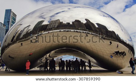 CHICAGO, IL - MAR 6: Cloud Gate on March 6, 2007 in Chicago, Illinois. Cloud Gate is the artwork of Anish Kapoor as the famous landmark of Chicago in Millennium Park. - stock photo