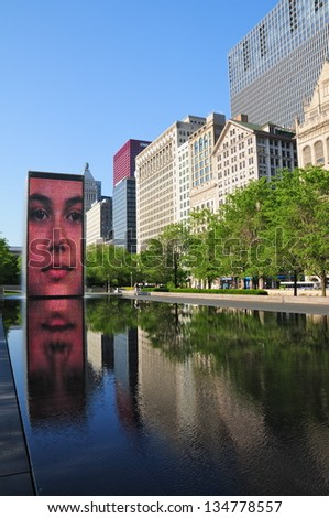 CHICAGO,IL - MAY 19 : The Jaume Plensa's Crown fountain on May 19, 2012 in Millennium Park, Chicago. An interactive work of public art and video sculpture featured. It operates from May to October.