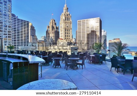 CHICAGO, IL -14 MAY 2015- The Michelin star modern fine dining restaurant Sixteen, located in the Trump Hotel, overlooks Michigan Avenue, including the Chicago Tribune and Wrigley buildings.