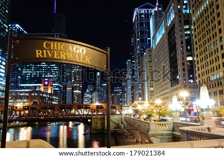 "CHICAGO, IL - OCT 6, 2011: Signboard ""Chicago riverwalk"" on October 6, 2011 in Chicago, Illinois. Chicago is the third most populous city in the United States, after New York City and Los Angeles"