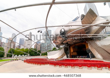 Chicago, IL, United States - August 15, 2014: Jay Pritzker Pavilion, it is one of the outdoor Amphitheaters located centrally in Millennium Park at Chicago downtown.