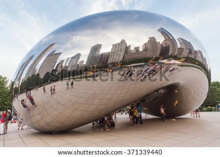 Chicago, IL/USA - circa July 2015: Cloud Gate at Millennium Park in Chicago, Illinois - stock photo
