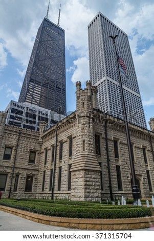 Chicago, IL/USA - circa July 2015: John Hancock Center and Water Tower Place in Chicago, Illinois - stock photo