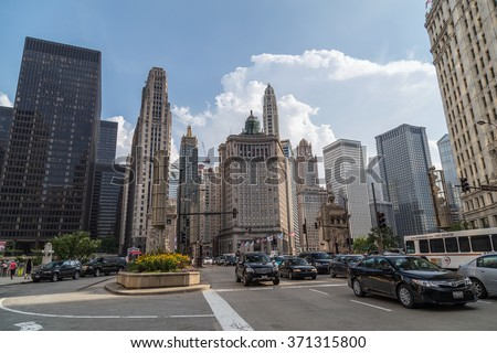 Chicago, IL/USA - circa July 2015: North Michigan Avenue of Downtown Chicago, Illinois - stock photo