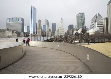 CHICAGO,IL/USA - DECEMBER 14: Public BP walkway in Millenium park on December 14, 2014 in Chicago, IL. Millenium Park is the second most popular public attraction in the city of Chicago.  - stock photo