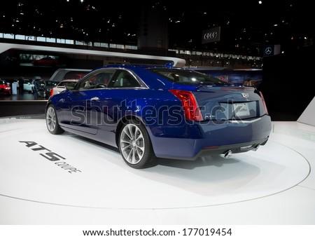 CHICAGO, IL/USA - FEBRUARY 7: A 2015 Cadillac ATS car at the Chicago Auto Show (CAS) on February 7, 2014, in Chicago, Illinois. - stock photo