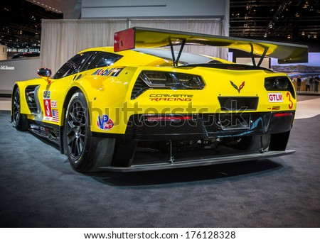 CHICAGO, IL/USA - FEBRUARY 7: A 2014 Chevrolet (Chevy) Corvette C7-R car at the Chicago Auto Show (CAS) on February 7, 2014, in Chicago, Illinois. - stock photo