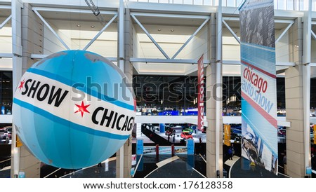 CHICAGO, IL/USA - FEBRUARY 7, 2014: 2014 Chicago Auto Show (CAS) Entrance, at McCormick Place.