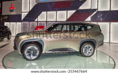 CHICAGO, IL/USA - FEBRUARY 13, 2015: Mitsubishi GC-PHEV Concept car at the Chicago Auto Show (CAS), the largest auto show in North America. - stock photo