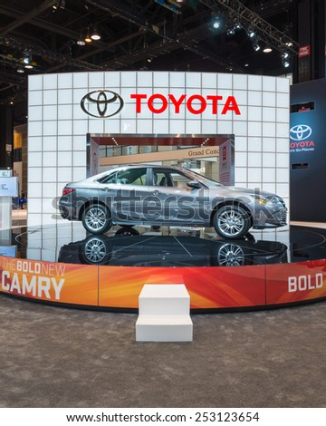 CHICAGO, IL/USA - FEBRUARY 12, 2015: 2015 Toyota Camry car at the Chicago Auto Show (CAS), the largest auto show in North America. - stock photo