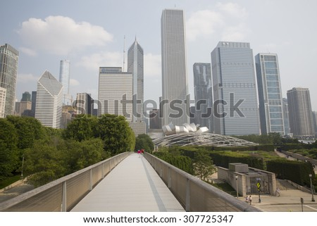 CHICAGO,IL/USA - JULY 5: Nichols Bridgeway as  in July 5 2015 in Chicago, IL. Nichols Bridgeway is a pedestrian bridge that begins at the Great Lawn of Millennium Park and ends at the Art Institute.