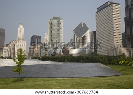 CHICAGO,IL/USA - JULY 5: Public BP walkway in Millenium park on July 5 2015 in Chicago, IL. Millenium Park is the second most popular public attraction in the city of Chicago.