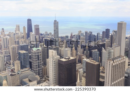 CHICAGO, IL, USA - OCTOBER 3, 2014: Aerial view of the downtown Chicago cityscape from Willis Tower in Chicago, IL, USA on October 3, 2014. - stock photo