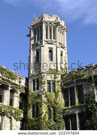CHICAGO, IL, USA - OCTOBER 8, 2014: Impressions the University of Chicago's main campus in the Hyde Park area of Chicago, IL, USA on October 8 2014. - stock photo
