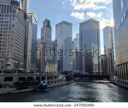 CHICAGO, IL, USA - OCTOBER 6, 2014: View of skyscrapers at the Chicago River in downtown Chicago, IL, USA on October 6, 2014. - stock photo