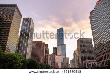 Chicago, IL, USA â?? Sept 5, 2014: Skyscrapers in Chicago downtown - stock photo